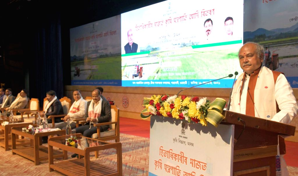The Union Minister for Agriculture & Farmers Welfare, Rural Development & Panchayati Raj and Food Processing Industries, Shri Narendra Singh Tomar addressing the gathering at the ceremonial ...