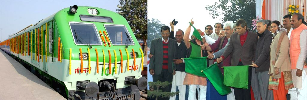 The Union Minister for Railways Suresh Prabhakar Prabhu flags off new CNG powered trains from Rewari, in Haryana on Jan 13, 2015. Also seen the Union Minister of State for Railways Manoj Sinha, the .. - Suresh Prabhakar Prabhu, Manoj Sinha and Rao Inderjit Singh