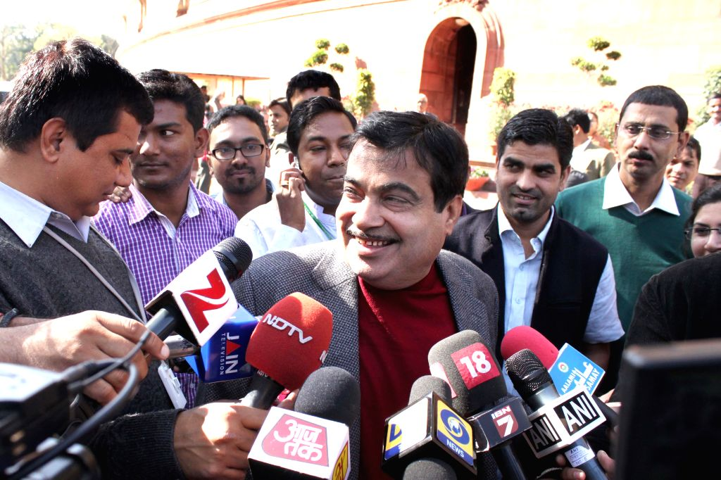 The Union Minister for Road Transport and Highways and Shipping, Nitin Gadkari at the Parliament premises in New Delhi, on Dec 1, 2014.