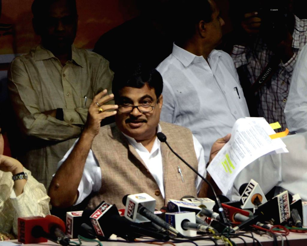 The Union Minister for Road Transport and Highways, and Shipping  and BJP leader Nitin Gadkari addresses a press conference at party office in Mumbai on Feb 27, 2015.