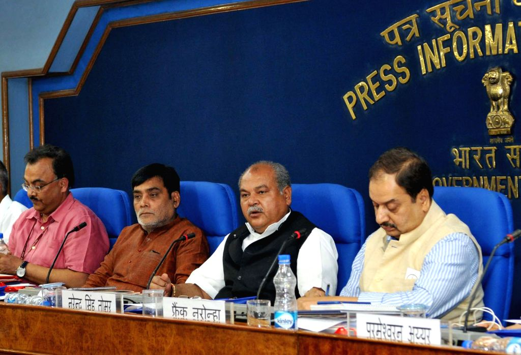 The Union Minister for Rural Development, Panchayati Raj, Drinking Water and Sanitation Narendra Singh Tomar addresses a press conference on the achievements of the Ministries during 3 ... - Narendra Singh Tomar
