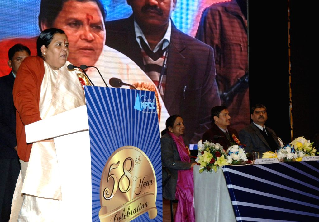 The Union Minister for Water Resources, River Development and Ganga Rejuvenation Uma Bharti addresses at the annual day meet of the National Projects construction corporation Limited, in New Delhi on