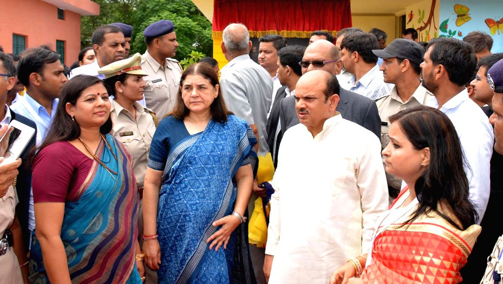 The Union Minister for Women and Child Development Maneka Gandhi during the inauguration of Nand Ghar, the first ultramodern Anganwadi Centre of India at village Hasanpur in Sonepat on June ... - Kavita Jain and Development Maneka Gandhi
