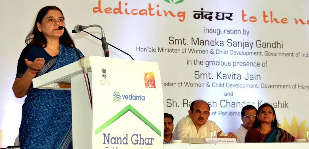 The Union Minister for Women and Child Development Maneka Gandhi addresses during the inauguration of Nand Ghar, the first ultramodern Anganwadi Centre of India at village Hasanpur in ... - Kavita Jain and Development Maneka Gandhi