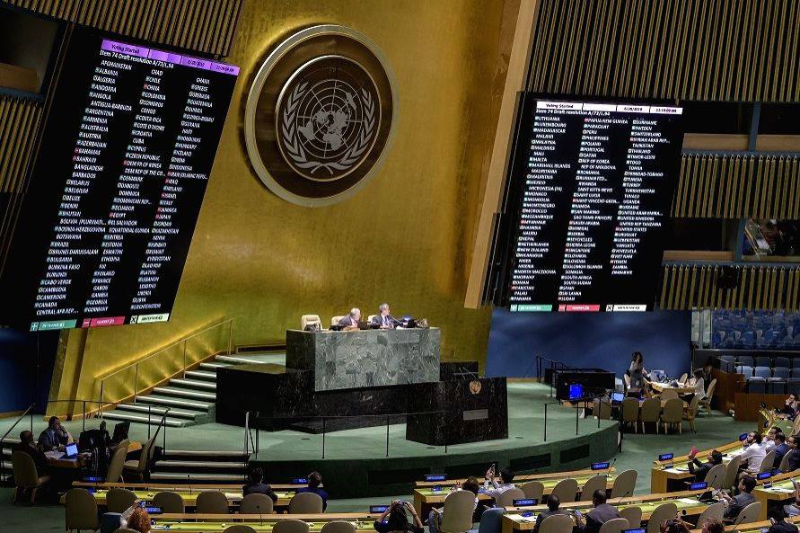 "The United Nations General Assembly adopts a resolution on Friday, June 28, 2019, on ""Towards torture-free trade: examining the feasibility, scope and parameters for possible common international standards"". India abstained from voting. (Photo: UN/IA"