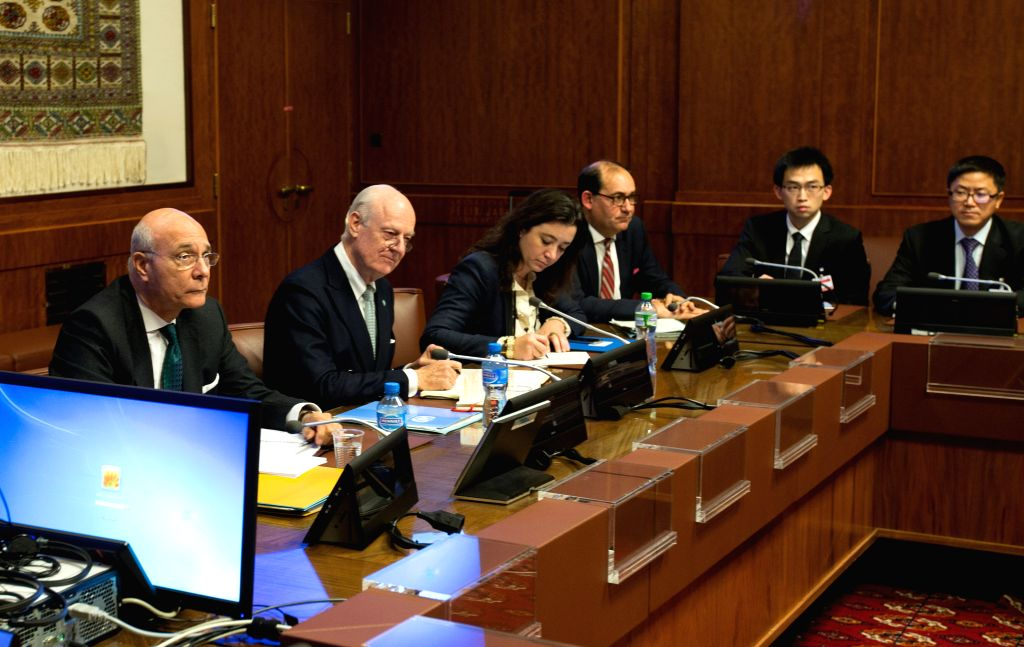The United Nations Special Envoy for Syria, Staffan de Mistura (2nd L) holds a meeting with representatives of Britain, China, France, Russia and United States, the ...