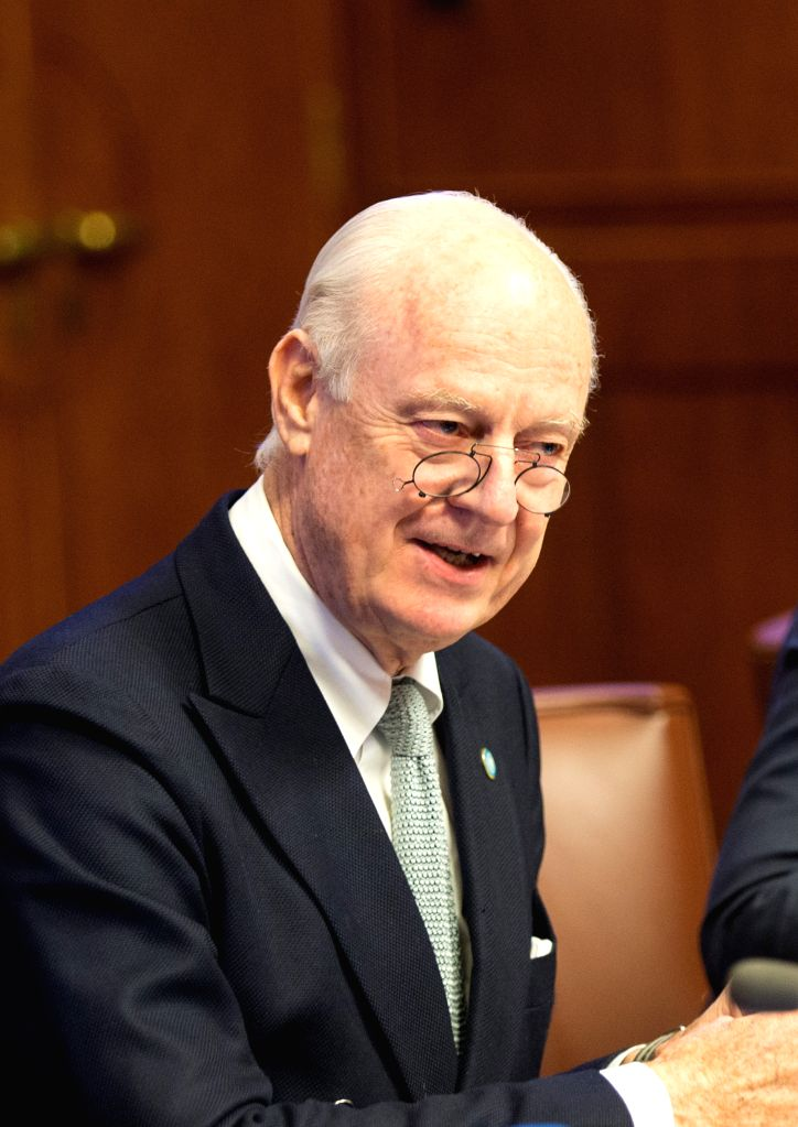 The United Nations Special Envoy for Syria, Staffan de Mistura holds a meeting with representatives of Britain, China, France, Russia and United States, the five ...