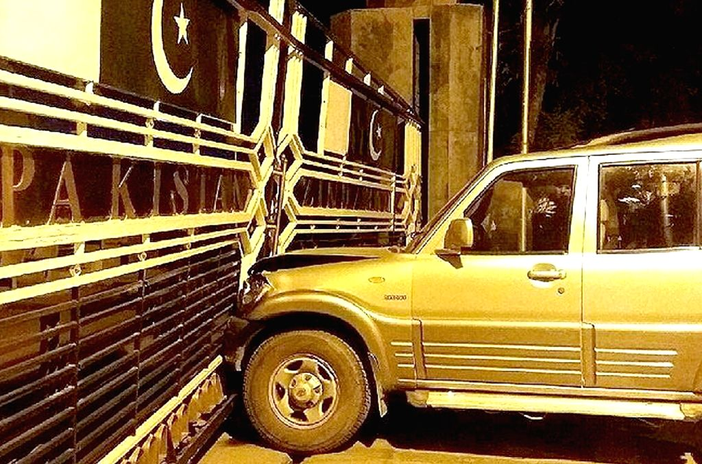 The vehicle that rammed into the border gate at Attari-Wagha border on Nov 15, 2015.