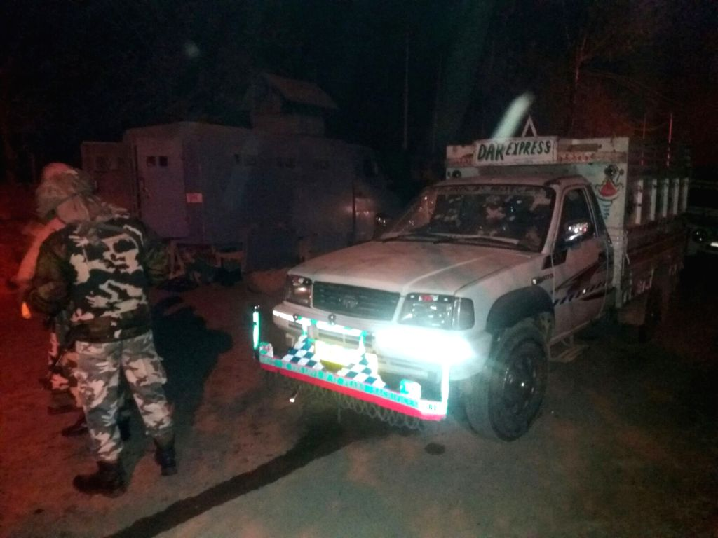 The vehicle that was being used by the alleged militants who were killed in an encounter with security personnel in Pampore of Jammu and Kashmir's Pulwama district, on Dec 8, 2015.