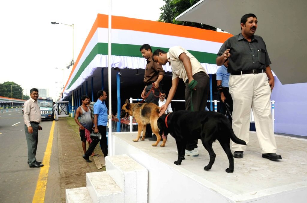 The venue of Independence Day celebration being sanitized at Red Road in Kolkata, on Aug 14, 2016.