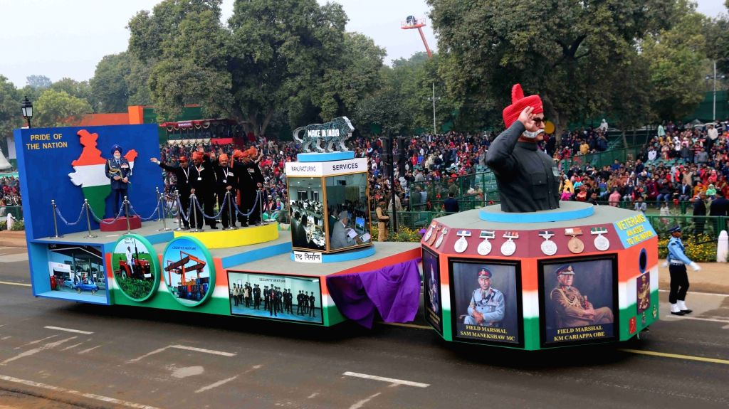 The veterans' tableau of the Arms Forces being displayed at Rajpath during the full dress rehearsal for the Republic Day Parade 2018, in New Delhi on Jan 23, 2018.