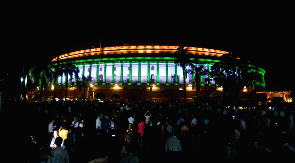 The view of newly inaugurated dynamic facade lighting of Parliament house ahead of 73rd Independence Day in New Delhi on Aug 13, 2019.