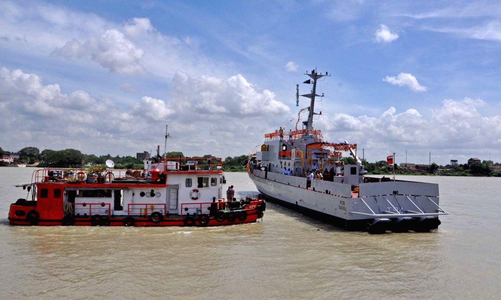 "The ""Water Jet Fast Attack Craft"" (WJFAC) that was launched  at Raja Bagan Dockyard in Kolkata on June 30, 2016."
