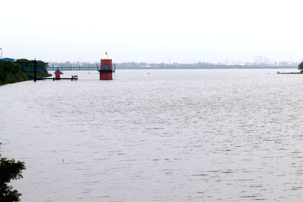 The water levels of the Red Hills reservoir reached 1,600mcft against its full capacity of 3,300mcft following heavy rains received by its catchment areas, Chennai on Dec 3, 2019.