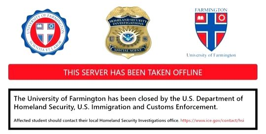 The web site of the Farmington University after arrests were made on Wednesday in a sting operation to catch alleged visa frauds. The fake institution was created by United States immigration officials as a part of the sting. (Photo Credit: ICE)
