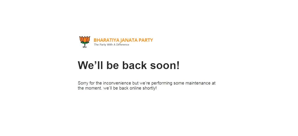 The website of the Bharatiya Janata Party (BJP) went into maintenance mode after an alleged hacking attempt early on March 5, 2019.