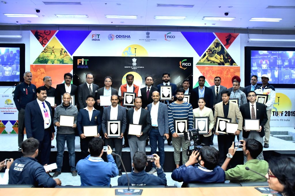 The Winners of FICCI India Sports Awards 2019 pose for a picture at FICCI Federation House on Wednesday.