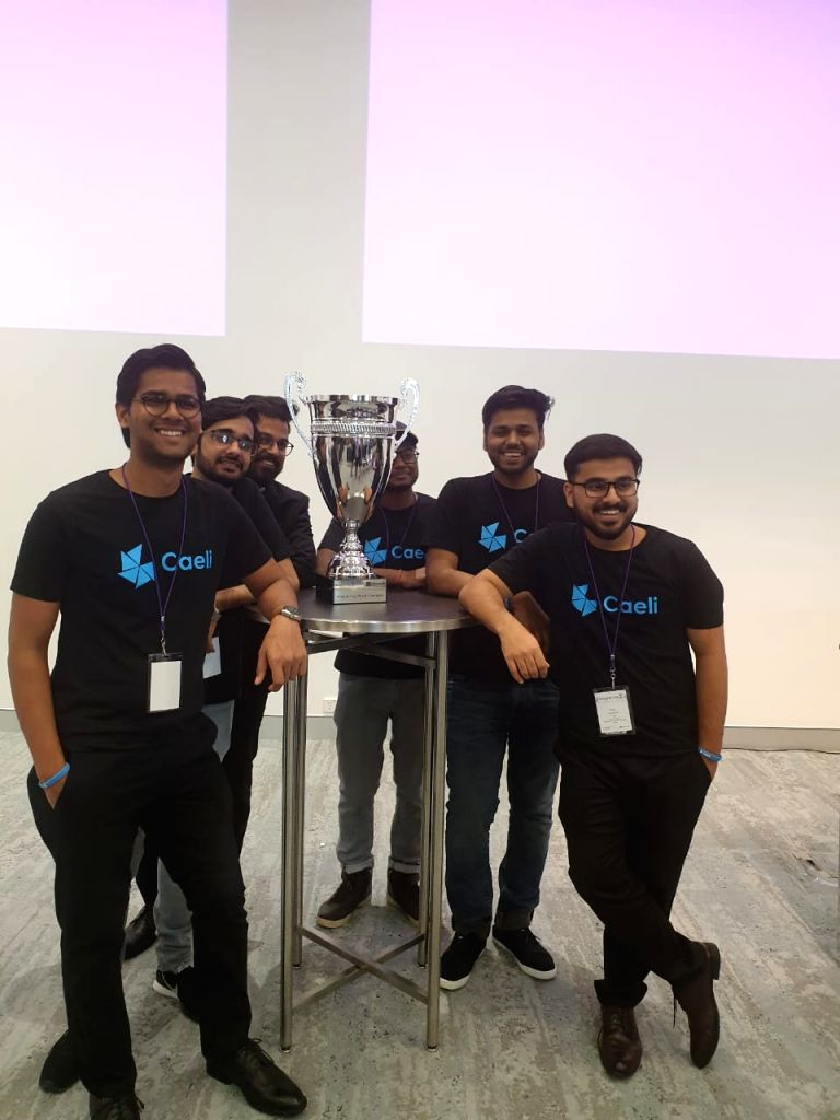 The winning team from Faridabad-based Manav Rachna Institute of Research and Studies at Microsoft Imagine Cup 2019 in Sydney on Feb. 12, 2019. (Photos: IANS)