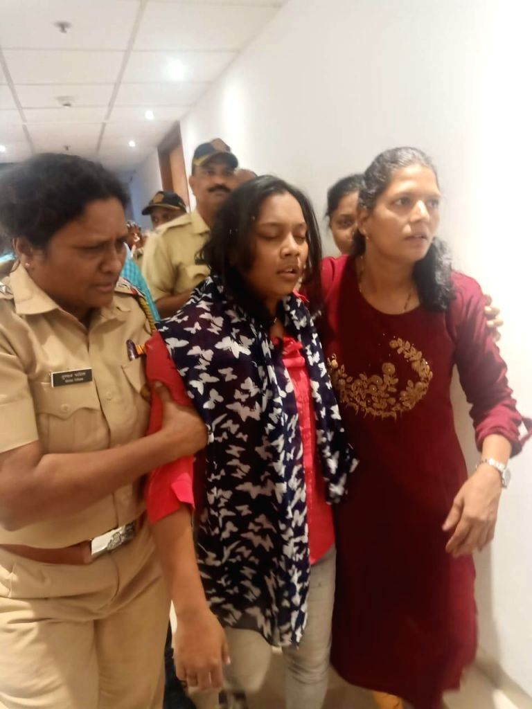 The woman who tried to commit suicide by jumping from the fourth floor of Mantralaya, being taken for interrogation after she was rescued, in Mumbai on Dec 13, 2019. Her fatal fall was ...