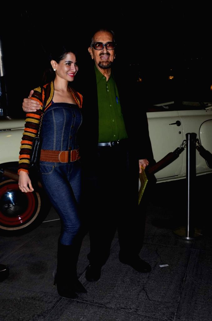 Theater personality Alyque Padamsee along with his daughter Shazahn Padamsee during the birthday celebrations of actor Kabir Bedi in Mumbai, on Jan 16, 2016.
