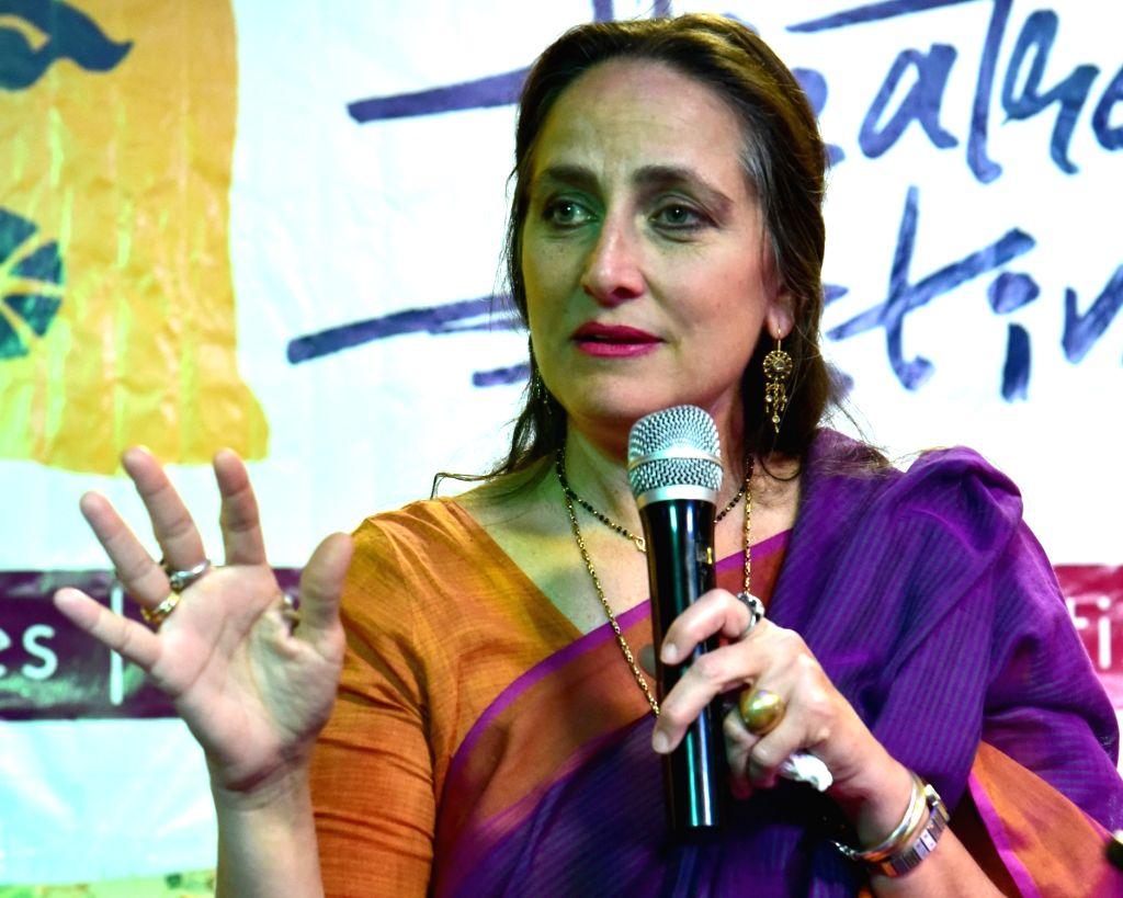 Theatre artist Sanjana Kapoor addresses at Bikaner Theatre Festival, in Bikaner, on March 15, 2019. - Sanjana Kapoor