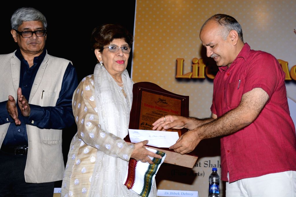 Theatre Director Amal Allana receives The Legends of India Lifetime Achievement Award from Delhi Deputy Chief Minister Manish Sisodia on behalf of her father Theatre Director Ebrahim ... - Manish Sisodia