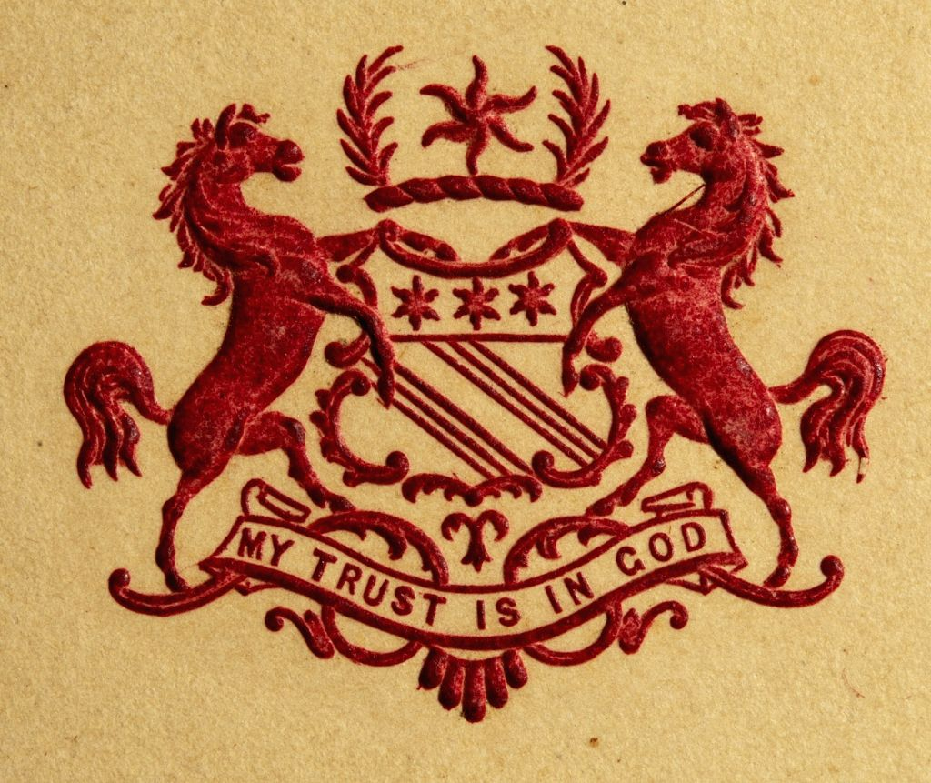 These crests commonly featured on the stationary of the nobility and other elites. Featured here is the crest of the Salar Jung family. (Photo Credit: The Ewari Collection)