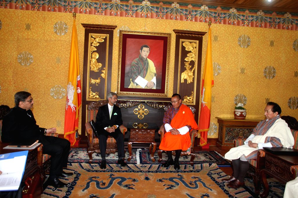 Indian Foreign Secretary S. Jaishankar during a meeting with the Prime Minister of BhutanTshering Tobgay in Thimpu, Bhutan on March 1, 2015.