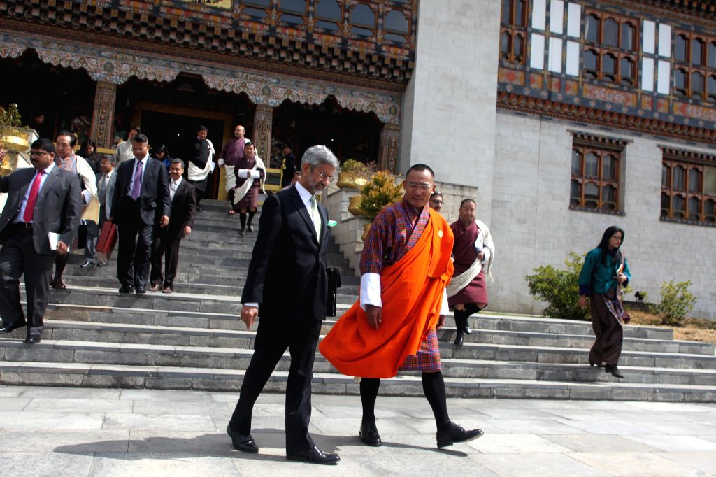 Indian Foreign Secretary S. Jaishankar with the Prime Minister of BhutanTshering Tobgay in Thimpu, Bhutan on March 1, 2015.