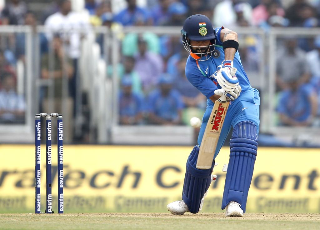 :Thiruvananthapuram: Indian skipper Virat Kohli in action during the fifth and final ODI match between India and West Indies in Thiruvananthapuram, on Nov. 1, 2018. .