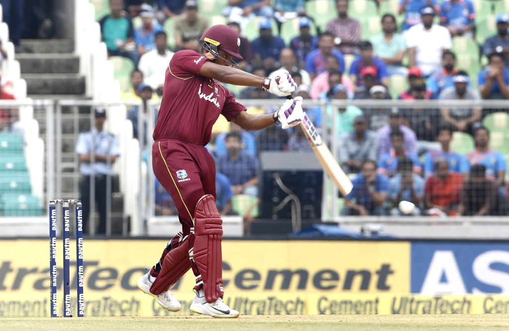 : Thiruvananthapuram: West Indies batsman Kieran Powell in action during the fifth and final One-Day International (ODI) against India in Thiruvananthapuram on Nov. 1, 2018. (Photo: Surjeet ...