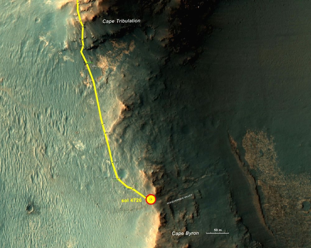"This graphic shows the route that NASA\'s Mars Exploration Rover Opportunity drove in its final approach to ""Perseverance Valley\"" on the western rim of Endeavour Crater. Photo: NASA"
