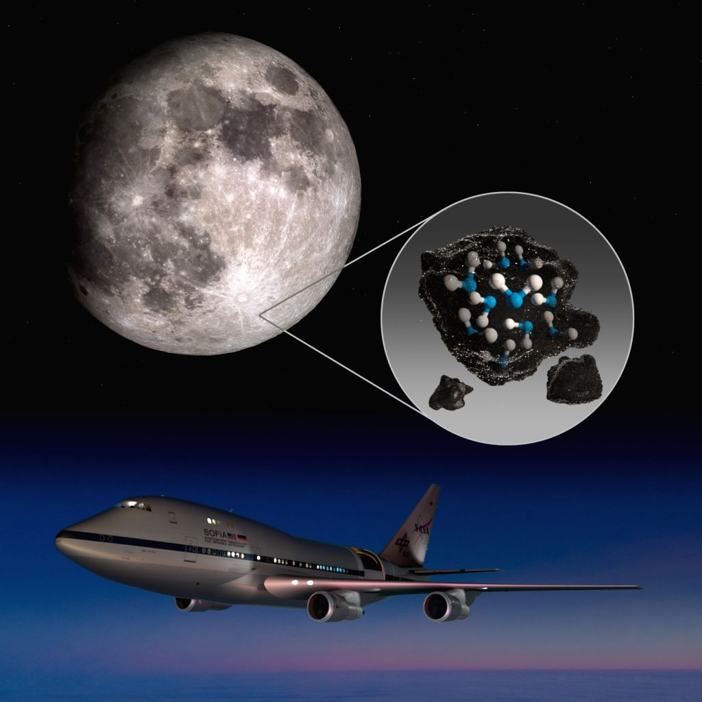 This illustration highlights the Moon's Clavius Crater with an illustration depicting water trapped in the lunar soil there, along with an image of NASA's Stratospheric Observatory for Infrared Astronomy (SOFIA) that found sunlit lunar water. (Ph