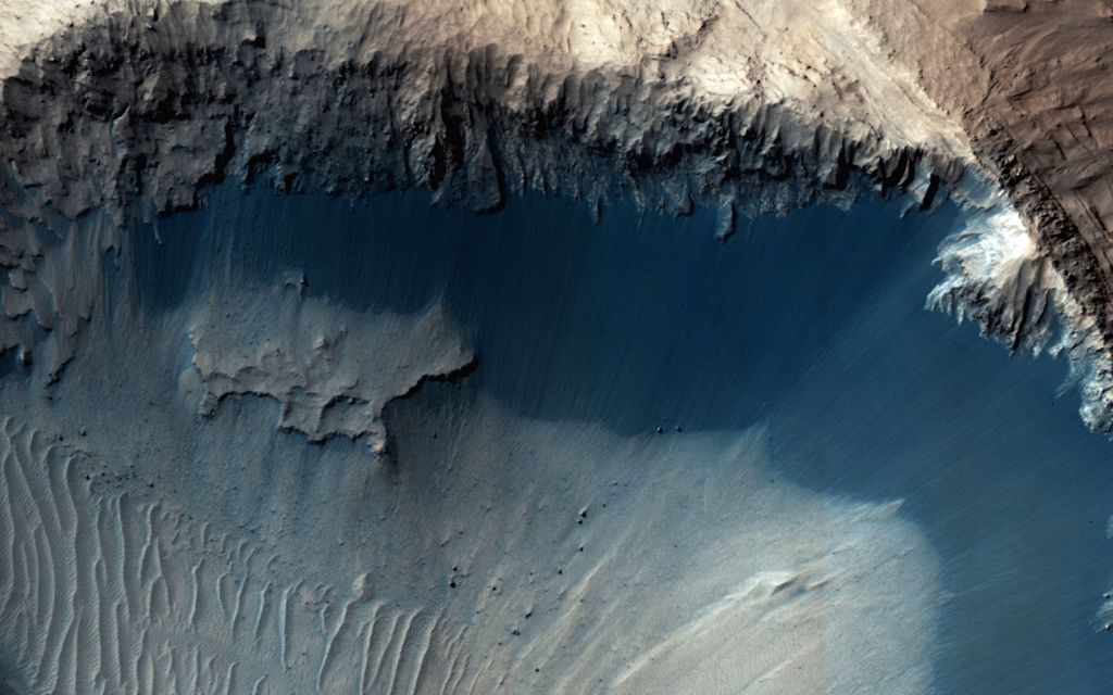 This image from NASA's Mars Reconnaisance Orbiter (MRO) shows one possible place where sand grains are being produced on Mars today. (Photo: NASA)