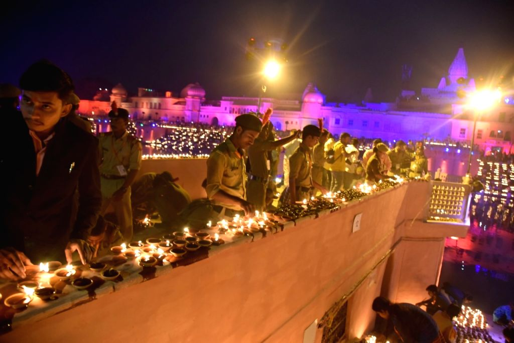 This is a Diwali before Diwali. The entire Ayodhya city has been illuminated with lakhs of 'diyas' (earthen lamps) to mark the 'bhoomi pujan' for the proposed Ram temple, as seen on Aug 4, ... - Yogi Adityanath