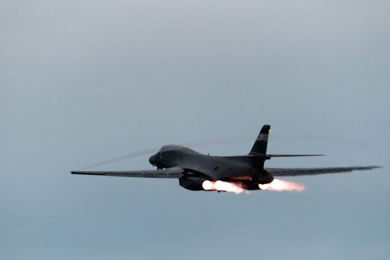 This photo provided by U.S. Pacific Air Forces on Oct. 10, 2017, shows a B-1B Lancer supersonic bomber taking off from an air base in Guam. South Korea's Joint Chiefs of Staff said two B-1B ...