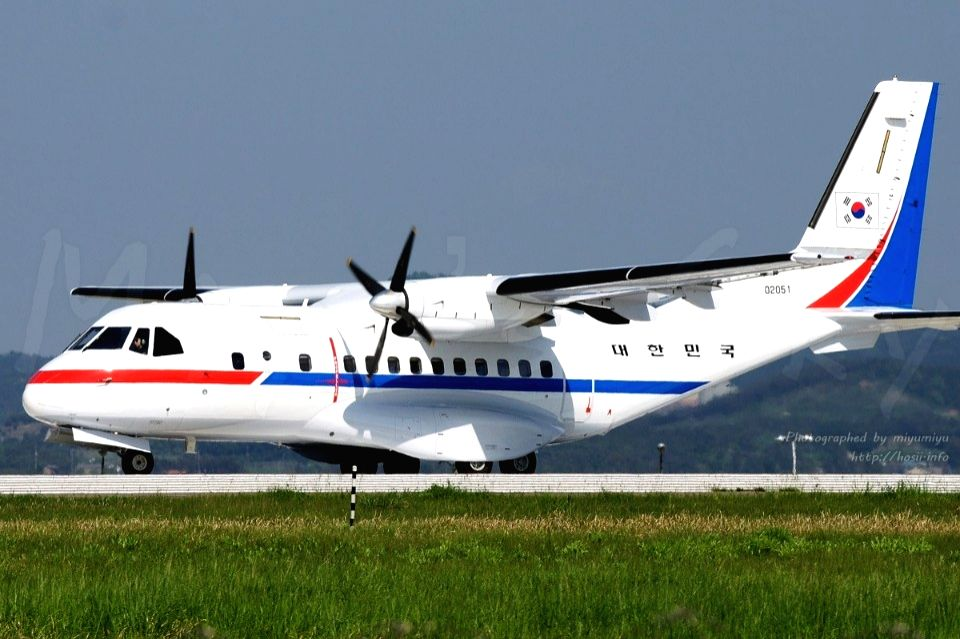 This photo released by the defense ministry on May 23, 2018, shows a government-owned transport plane that will carry a group of South Korean journalists, who were chosen to cover the ...