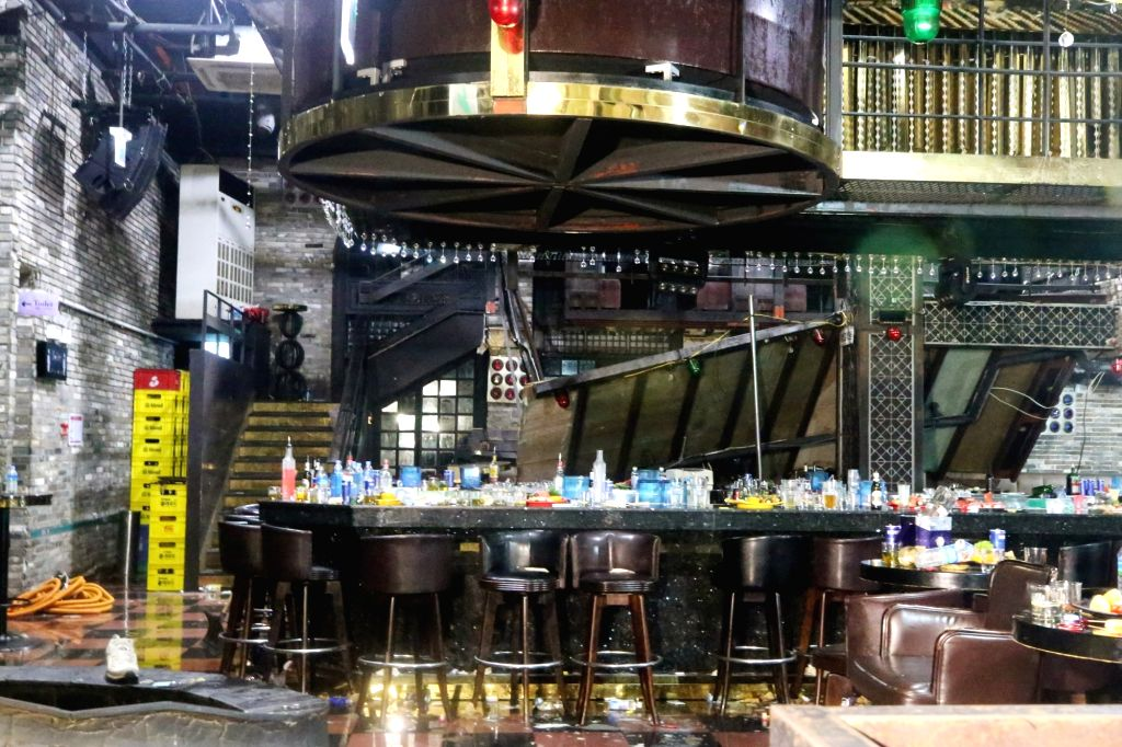 This photo shows a collapsed loft inside a nightclub in Gwangju, some 330 kilometers south of Seoul, on July 27, 2019. The incident killed two people and injured 10 others, including foreign ...