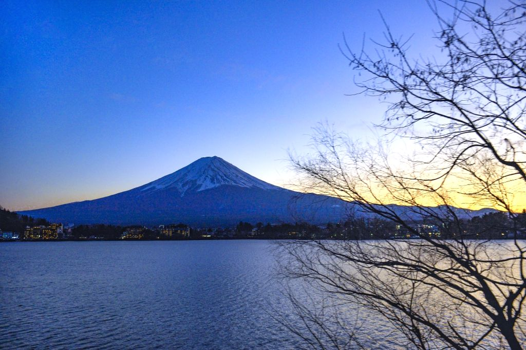 This photo shows the scenery of Mount Fuji taken in Shizuoka City, Japan, on Jan. 2, 2020. A lot of visitors came here to appreciate the scenery of Mount Fuji in ...