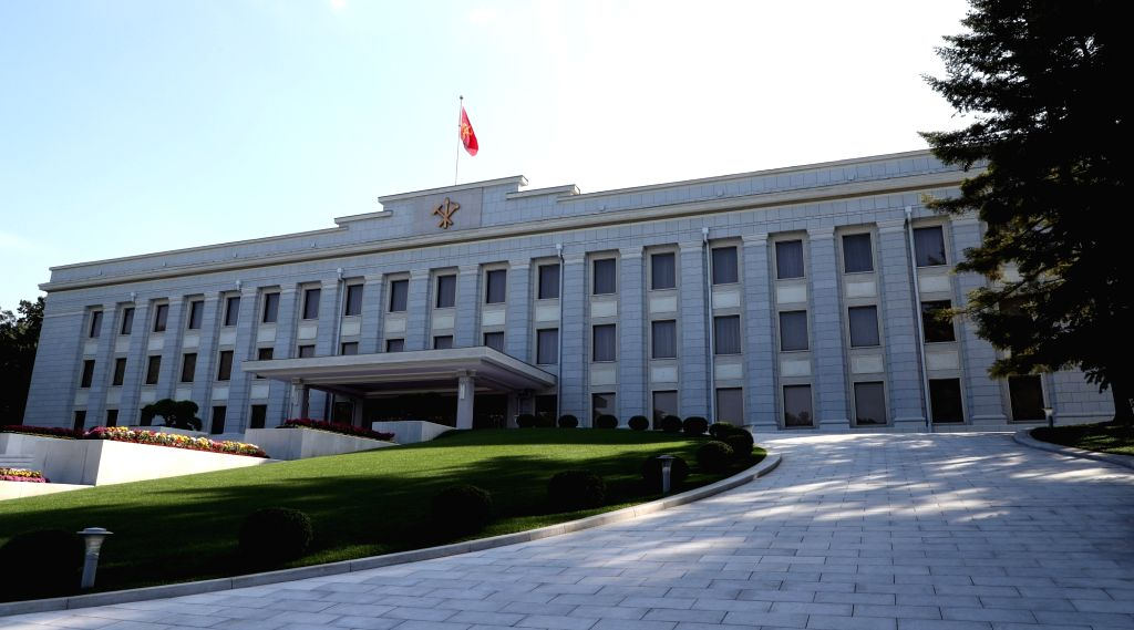 This pool photo taken Sept. 18, 2018, shows the headquarters of the Central Committee of the Workers' Party of Korea in Pyongyang, which houses offices of North Korea's ranking officials, ...