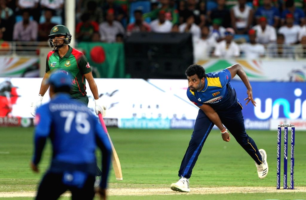 Thisara Perera of Sri Lanka in action during Asia Cup 2018 Group B match between Bangladesh and Sri Lanka at Dubai International Cricket Stadium in Dubai, UAE on Sept 15, 2018.