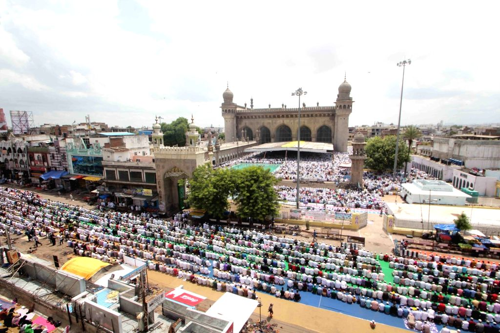Thousands of Muslims offering prayers during the holy month of Ramzan at Historic Macca Masjid in Hyderabad on June 23, 2017.