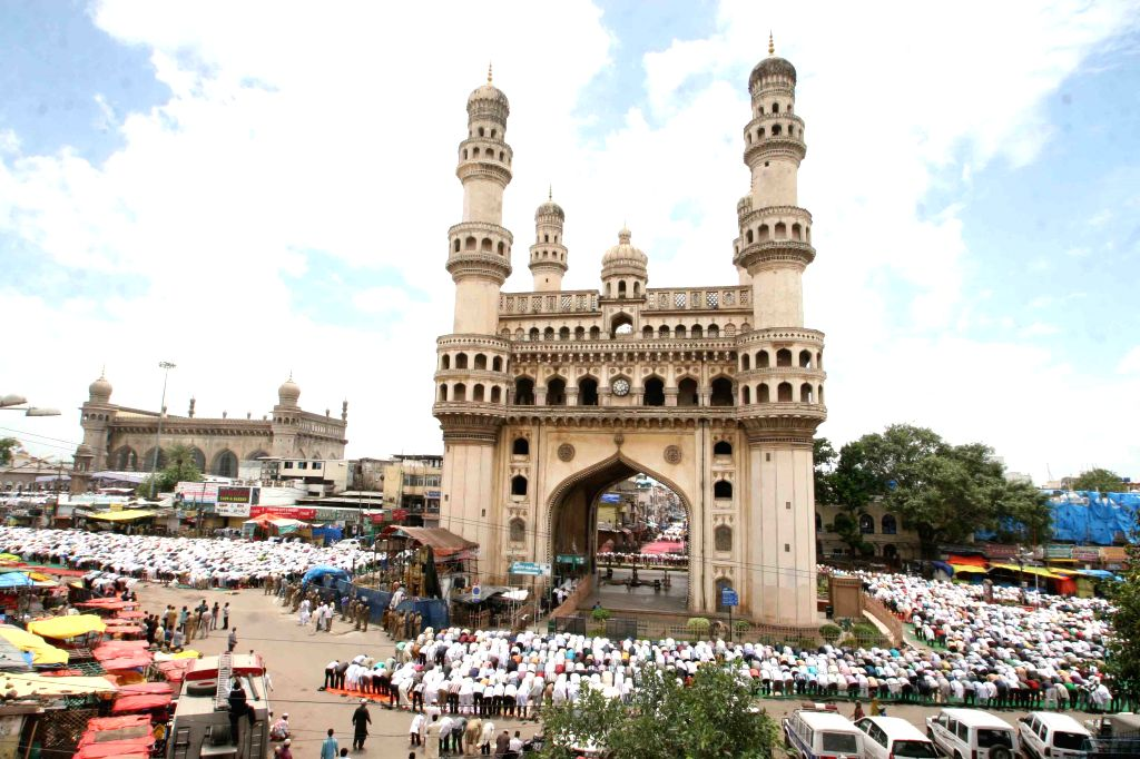 Thousands of Muslims offering prayers during the holy month of Ramzan at Historic Macca Masjid in Hyderabad on July 2, 2013. (Photo: IANS)