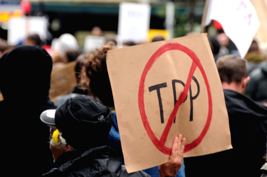 Thousands of protesters gather to protest against the Trans Pacific Partnership Agreement (TPPA) in Auckland, New Zealand, Aug. 15, 2015.
