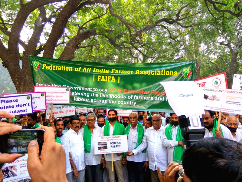 Thousands of Tobacco growers protesting outside health ministry, seeking participation in upcoming Cop 7, FCTC.