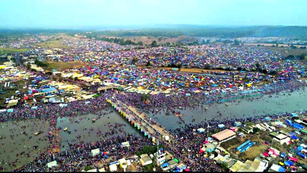 Thousands throng Medaram during Asia's biggest tribal fair, Sammakka-Saralamma jatara, in Telangana's Mulugu district on Feb 6, 2020.