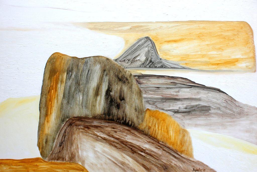 Thousnd valleys far Oil on Canvas W 91.44 cms H 60.96 cms.  (Photo: Triveni Kala Sangam)