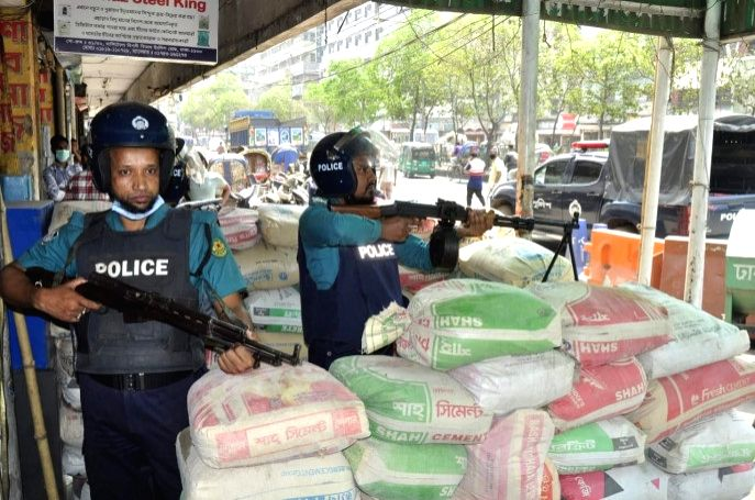 Threat of militant attack on police-Police deployed installing light machine gun posts in Dhaka