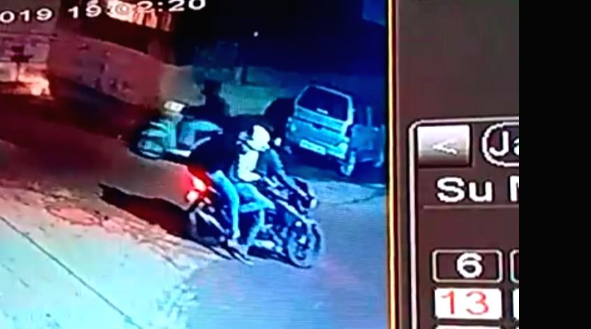 Three bikers seen on the CCTV footage that surfaced on Sunday. The footage shows the trio who have covered their faces with helmets and pullover caps firing indiscriminately on history-sheeter Jaydev ...