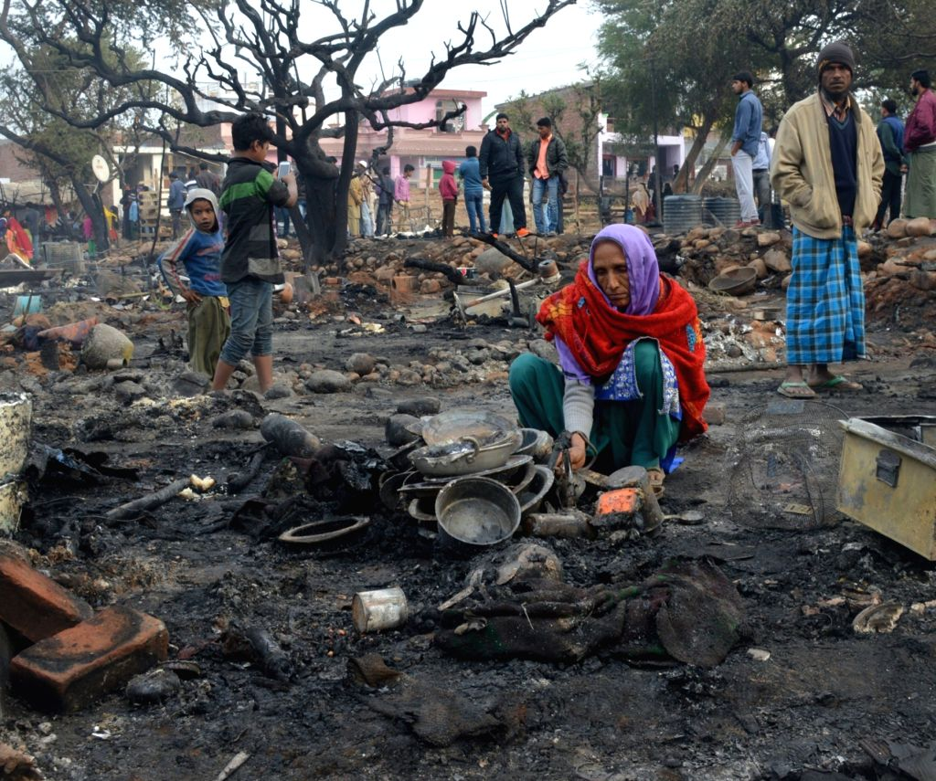 Three people died and six other injured in a devastating fire that destroyed over 150 shanties in Jammu on Nov. 26, 2016.